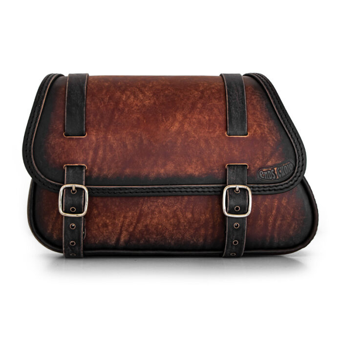 Motorcycle leather saddlebag for harley davidson softail models - ends cuoio folk ttdg