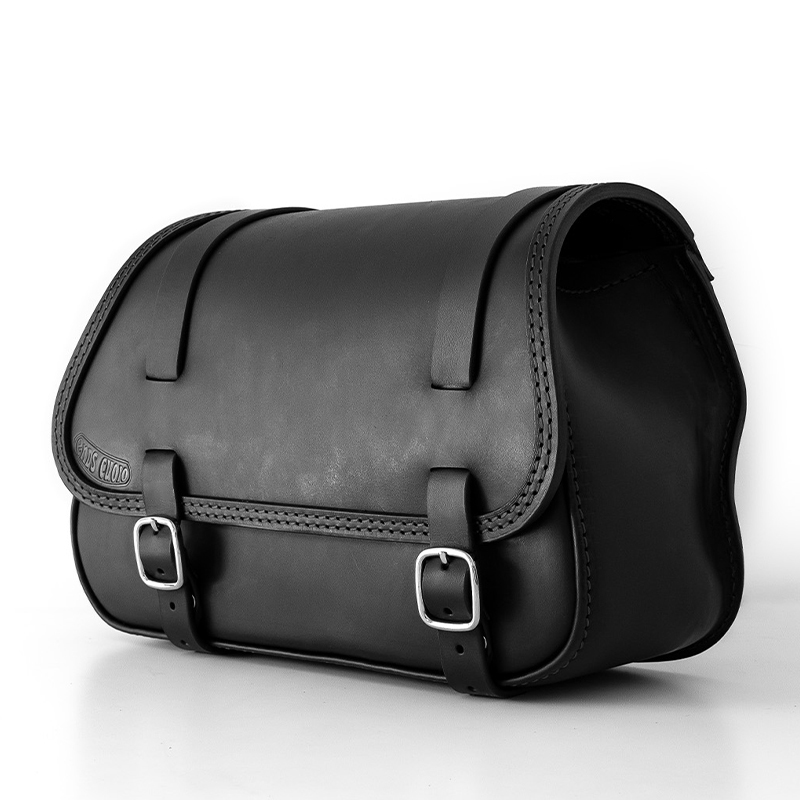 motorcycle leather saddle bag for harley davidson softail - ends cuoio fat folk dx ctn