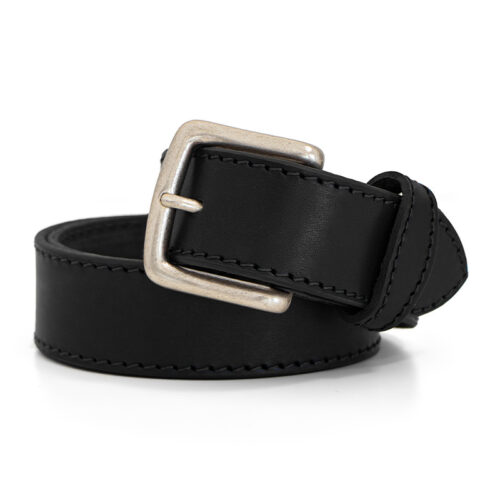 Handcrafted premium quality leather belt - New York black seams belt Ends Cuoio Plus
