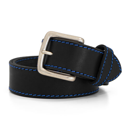 Handcrafted premium quality leather belt - New York blue seams belt Ends Cuoio Plus