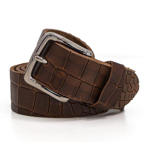 Premium quality leather belt - Florida crocodile print leather belt Ends Cuoio Plus