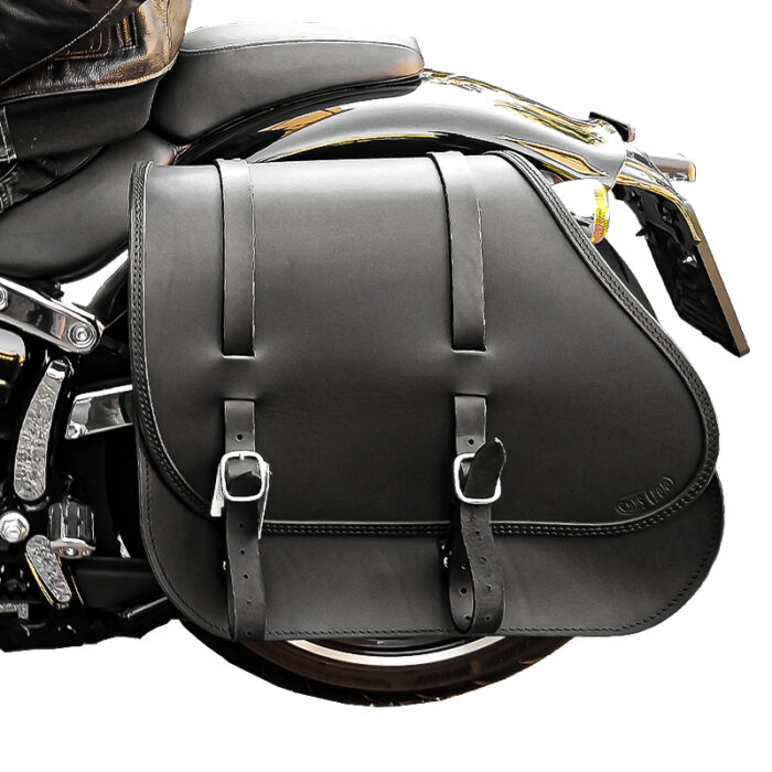 motorcycle leather saddlebag for harley davidson softail - grunge ends cuoio