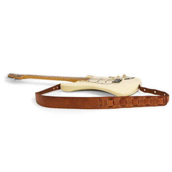 tracolla in cuoio per chitarra - ends cuoio plus tracolla 3 marrone