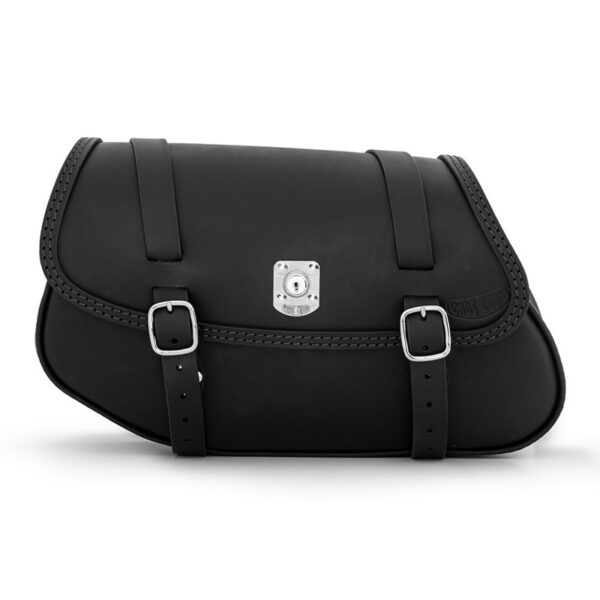 Motorcycle leather side bag with lock for bmw r ends cuoio hamburg